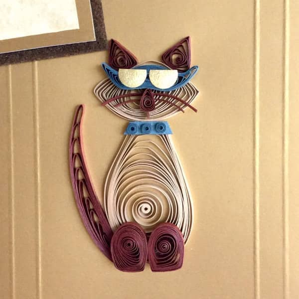 cool cat Father's Day card featuring a quilled cat wearing sunglasses
