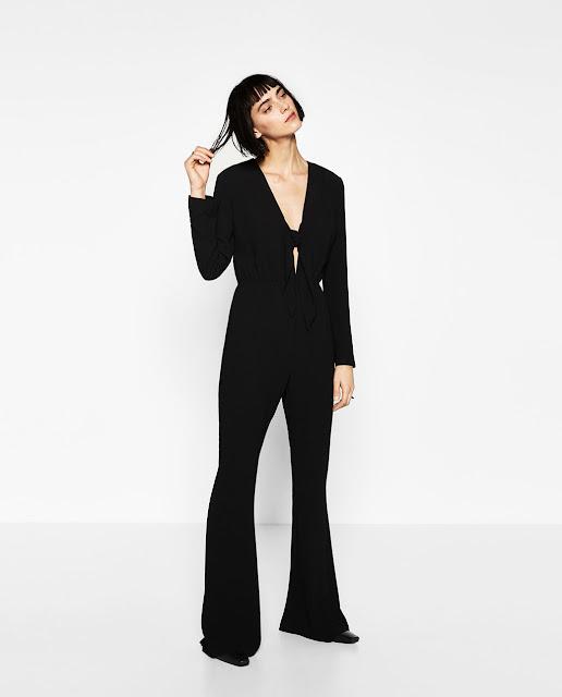 knot tie black jumpsuit zara
