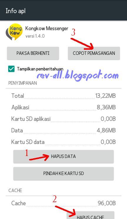 Urutan menghapus Hapus data aplikasi dan cache aplikasi sebelum mencopot atau menguninstall game dan apk (rev-all.blogspot.com)