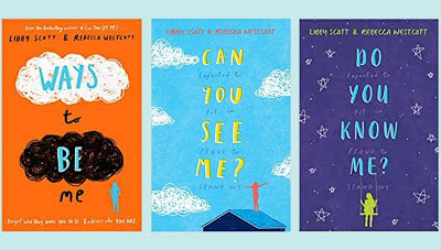 orange blue and purple book covers with the titles on in text