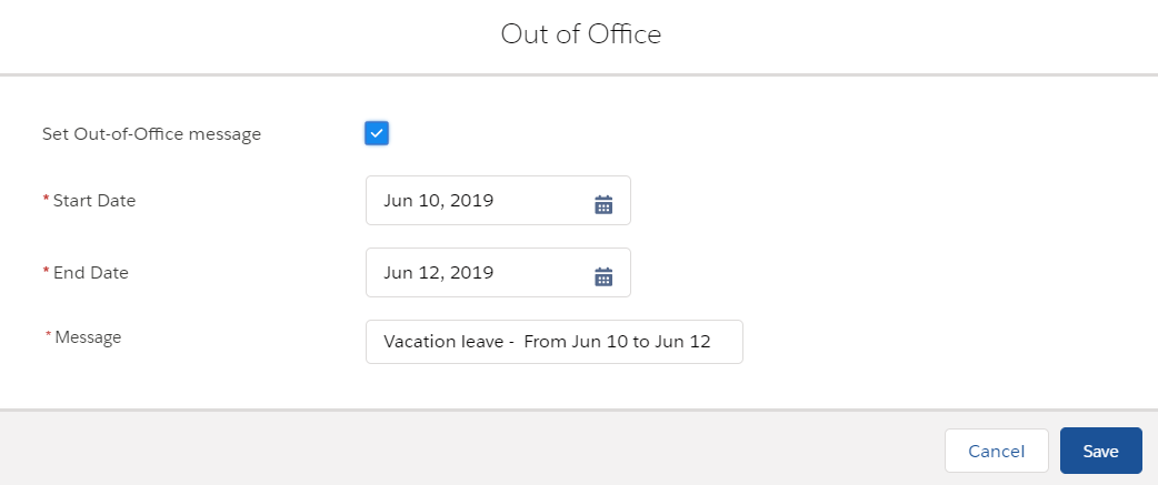 How to set Out of Office Message in Chatter in Salesforce