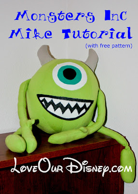 DIY Monsters Inc stuffed Mike Wazowski with FREE Pattern. This blog has lots of great Disney Crafts. LoveOurDisney.com