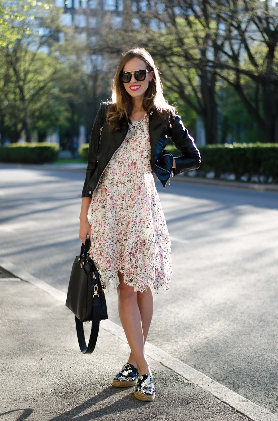 kristjaana mere floral lace dress leather jacket espadrilles spring outfit