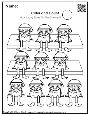 Free winter and christmas activity for kids, color and count the elves on the shelf , learn numbers from 1 to 10