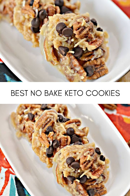 These caramel NO bake cookies are so delicious and make a great sweet treat. Perfect low carb  dessert, snack or treat. Grab some keto essential ingredients and learn how to make Keto Caramel NO bake Cookies! Keto No Bake Caramel Cookies Ingredients 8 tbsp Unsalted butter ⅓ c Swerve brown sugar substitute ⅓ c Heavy whipping cream 1 c Pecan halves ⅓ – ½ c Unsweetened coconut flakes ⅛ c Keto friendly chocolate chips Parchment paper Instructions  Place the butter into a saucepan on the stove over medium heat. When the butter has melted, whisk in the Swerve brown sugar substitute until completely dissolved. Stir in the heavy whipping cream until well combined. Cook, stirring frequently for 10 minutes until it begins to froth up and thicken.  Remove the mixture from the heat and stir in the pecan halves and coconut flakes. Stir well to combine, and let sit to cool slightly for a few minutes. Use a large spoon to drop spoonfuls of the cookie mixture onto parchment paper. Do not worry if some of the extra liquid leaks out from the mound of cookie batter. This should make 11 cookies. Sprinkle some keto friendly chocolate chips on top of each cookie, and lightly press them down. Place the cookies into the fridge for 30 minutes to an hour to harden. Serve immediately or store in an airtight container in the fridge.