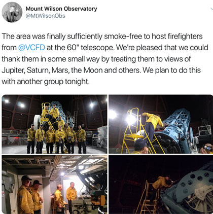 Firefighters get free night of observing on the 60-inch telescope (Source: @MtWilsonObs)