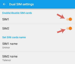 Enable/disable SIM cards