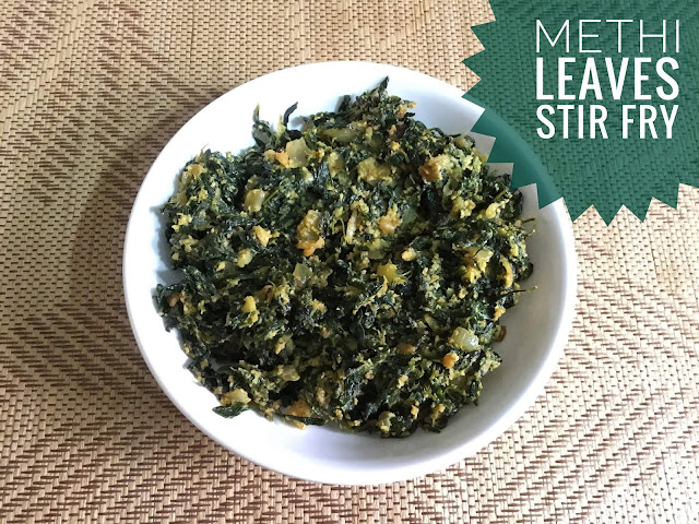 Methi (Fenugreek) leaves Poriyal - Keerai (Greens) Dishes - Methi (Fenugreek) leaves Poriyal - simple and healthy side dish for your lunch with 5 basic ingredients. For methi leaves poriyal, there is no need to chop the greens. Just remove the leaves from the stem and wash it well for 3 to 5 times because it has more mud and sand when compared to other greens. The aroma in the kitchen was very nice when we saute the methi leaves. Methi leaves poriyal tastes good when made with fresh leaves. I recommend making it the same day, but if you have busy mornings just pluck the leaves and keep it in a ziploc bag.