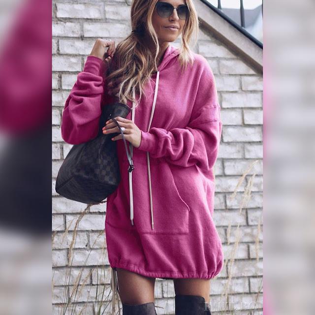 Μακρυμάνικο ροζ γυναικείο φούτερ CALLA PINK