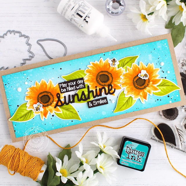 Sunny Studio Stamps: Sunflower Fields Sunny Sentiments Sunshine Word Die Everyday Card by Leanne West
