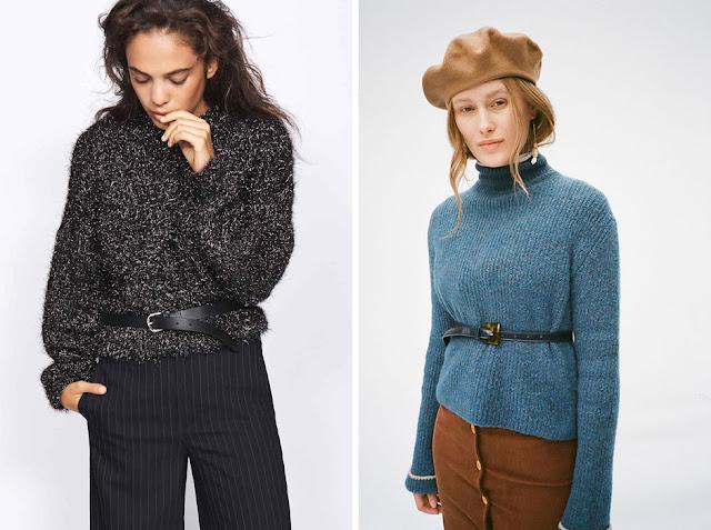 Серый и голубой свитер с ремнем