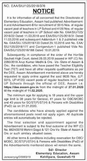 DEE Assam Teacher Recruitment 2020-Lower Primary, Upper Primary Schools teachers jobs