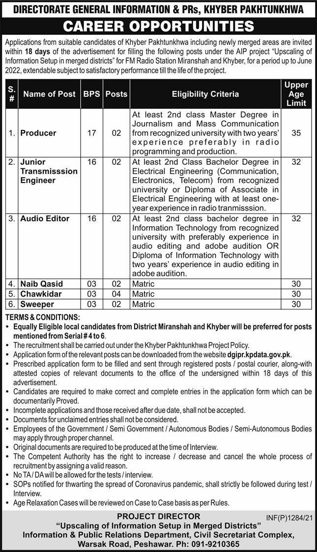 Information & Public Relations Department Jobs 2021