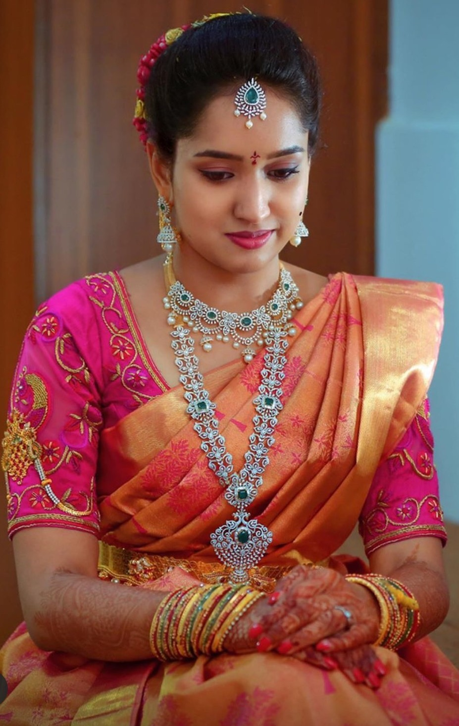 Bride in Jhumka Pattern Diamond Haram - Jewellery Designs