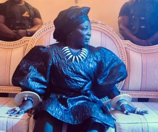 Charley Boy switches up his look with feminine blouse, gele, and elaborate bangles