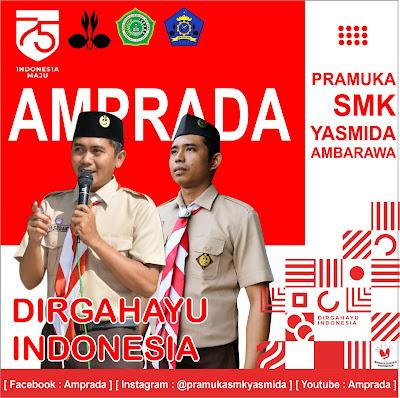 Desain Ucapan Selamat HUT RI ke 75 Pramuka SMK Yasmida Ambarawa