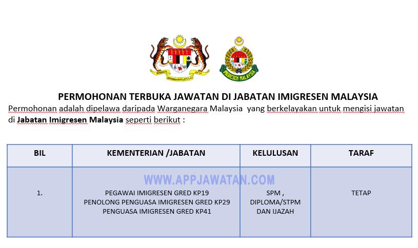 Permohonan Terbuka Jawatan Di Jabatan Imigresen Malaysia Appjawatan Malaysia