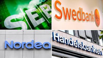 SEB, Swedbank, Nordea och Handelsbankens loggor