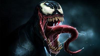 Venom enfadado con su lengua fuera