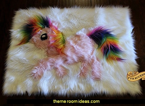 My Little Pony Pink Rainbow Rug - Faux Fur Area Rug