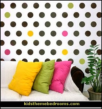 Polka Dots wall stencil decor for girls bedrooms, Nurseries, Kids Rooms