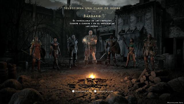 Selección de personajes Diablo II Resurrected