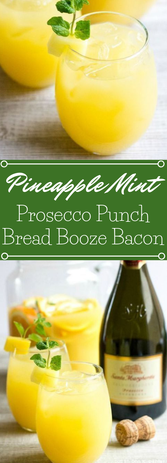 PINEAPPLE MINT PROSECCO PUNCH #drink #punch #smoothie #cocktail #delicious
