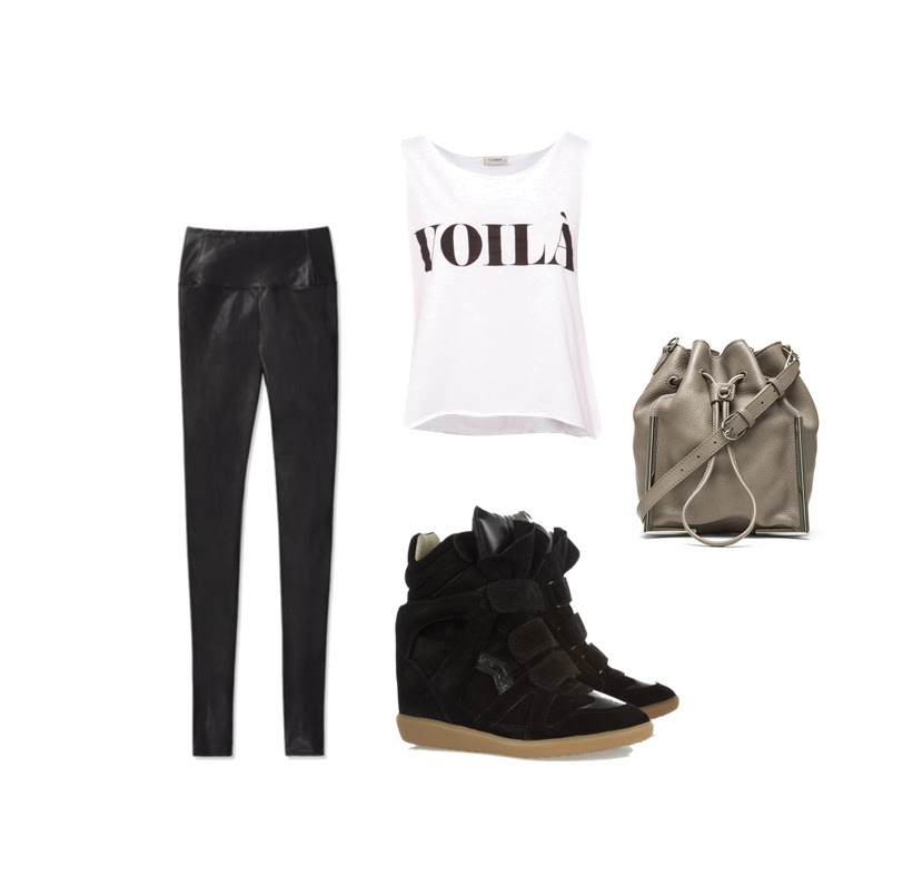 Faux leather leggings wedge sneakers sporty