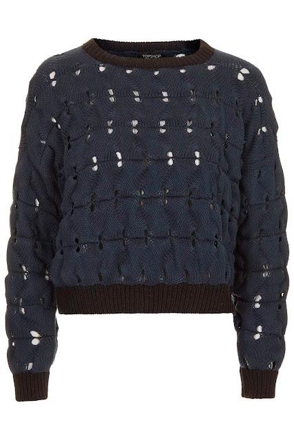 navy open stitch jumper