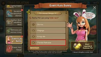 Jawaban Bunny Quiz Rarity Pet apa yang tidak rare? (Answers to question: What Pet's rarity isn't rare?). Jawabannya Panda Raksasa/Giant Panda