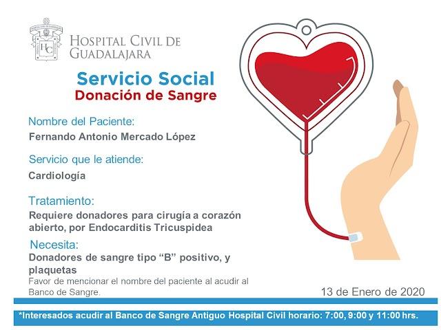 Urgente Servicio Social HCG, donación de Sangre