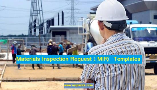Materials Inspection Request (MIR) Templates