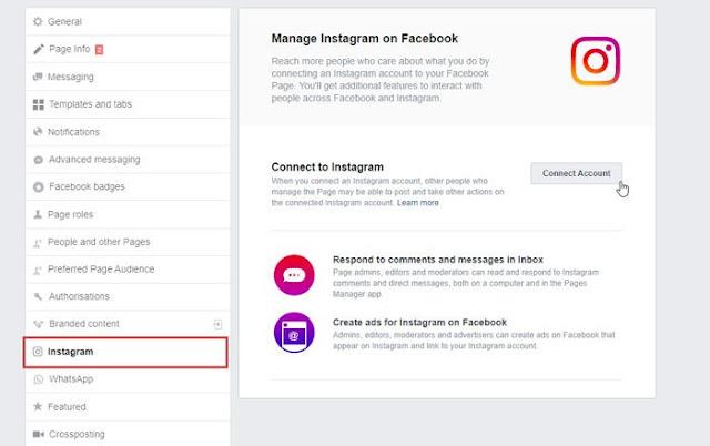 Cara menghubungkan Instagram ke Halaman Facebook