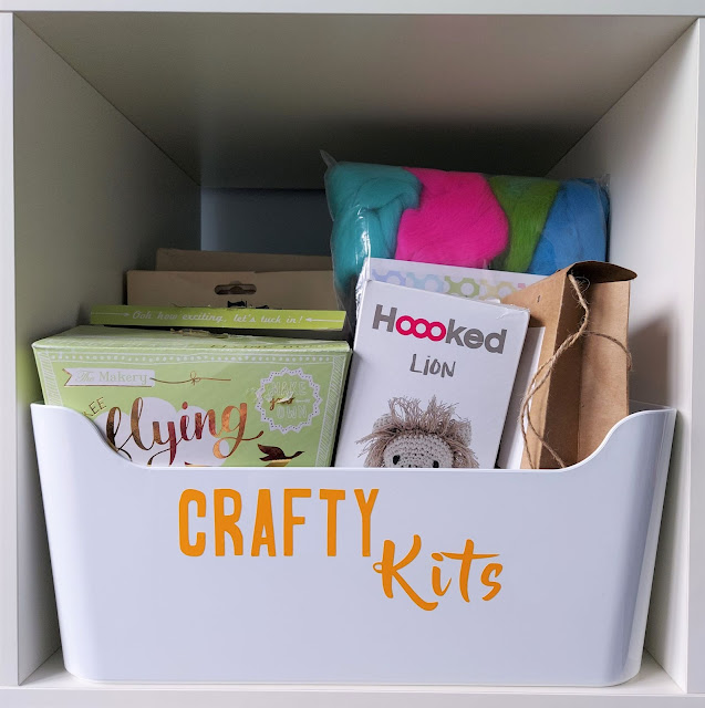 Organise your craft stash using the Cricut Joy to make pretty labels for storage tubs