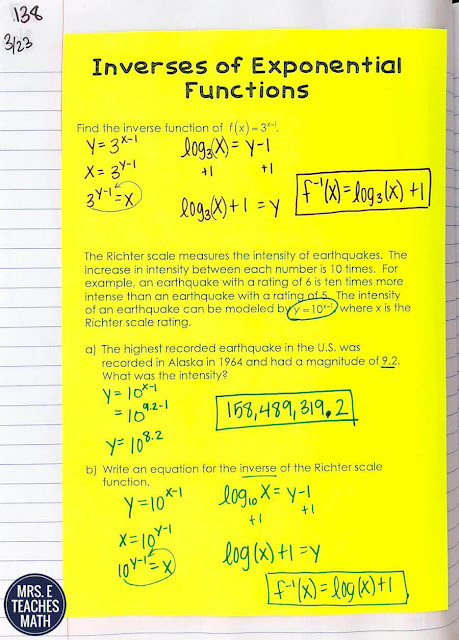 These foldables and interactive notebook pages for logarithms and exponentials are great class notes! When teaching properties of logs, graphing functions, and solving equations your algebra students will love these activities.
