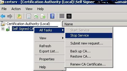 Windows 2008 Microsoft Directory Certificate Service - Service stop and start