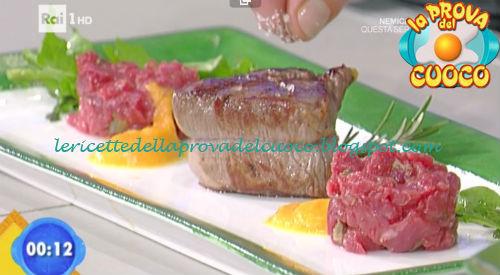 Crudo e cotto di manzo su dadolata di zucca ricetta Improta da Prova del Cuoco