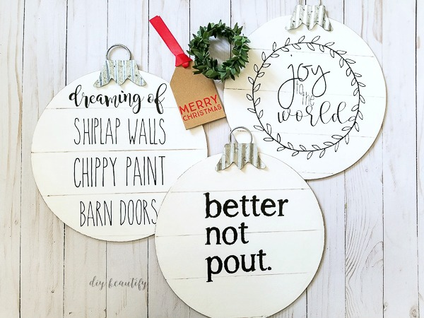 DIY shiplap ornaments