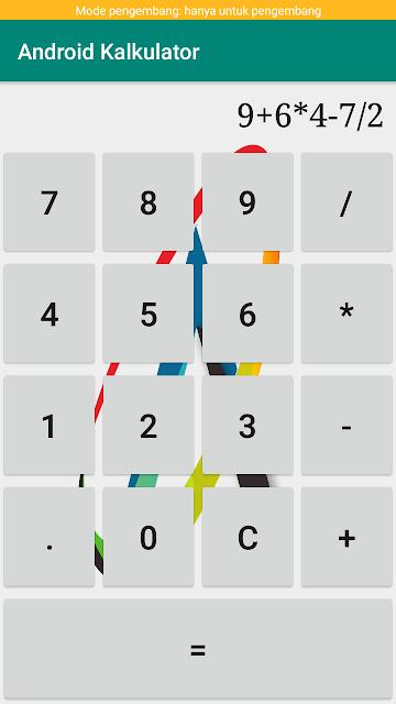 script membuat kalkulator sederhana di android studio, dan berginilah hasil dari membuat kalkulator sederhana