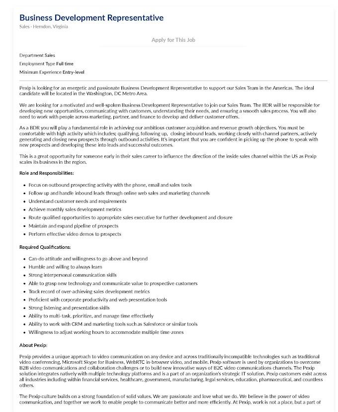Jobs in UK for Business Development Representative