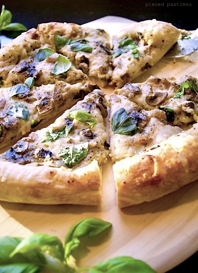 Vegan Caramelized Onion Mushroom White Pizza at Pieced Pastimes