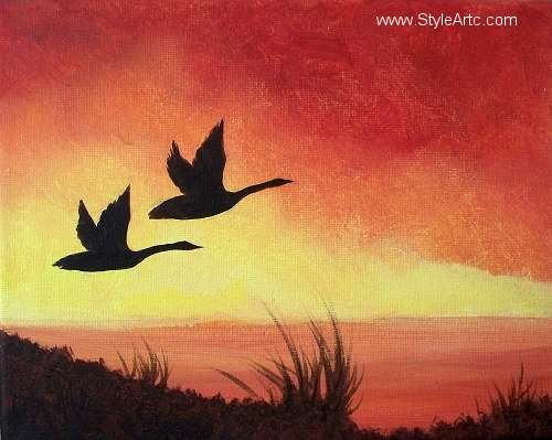 Canada Geese Sunset Painting