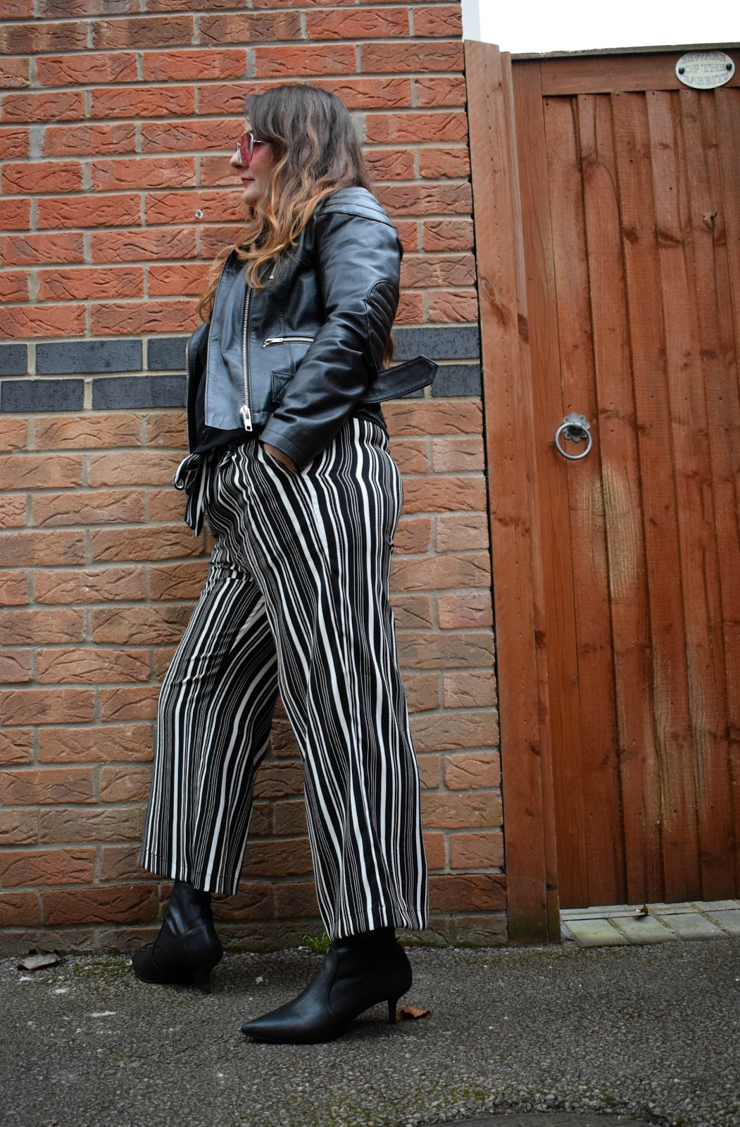 Newlook stripe wide leg trousers