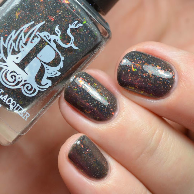 charcoal nail polish with color shifting flakies
