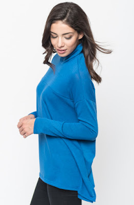 Buy Royal blue Funnel Neck Draped Knit Tunic Online $20 -@caralase.com