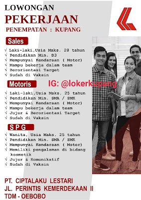 Lowongan Kerja PT. Ciptalaku Lestari Sebagai Sales, Motoris, SPG