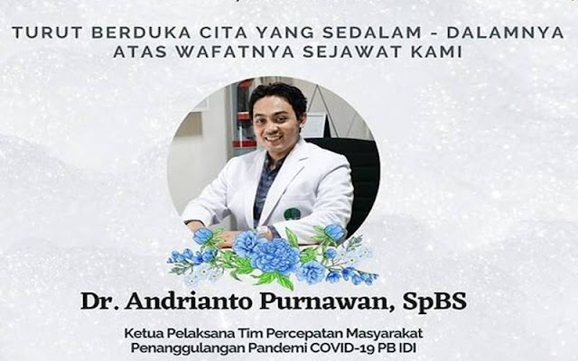 Ketua Tim Covid PB IDI, Andrianto Purnawan Meninggal Kena Corona