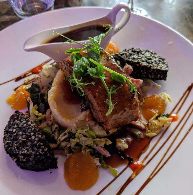 West Cork Ireland - Pork belly with Clonakilty black pudding at Indulge