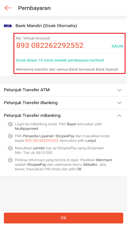 Petunjuk Untuk Melakukan Transfer Bank ke Virtual Account ShopeePay.