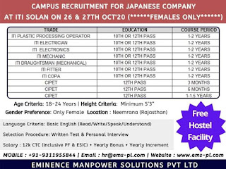 ITI and 12th + CIPET  Jobs Campus Interview in Govt. ITI Solan(H.P.) Company Takahata Precision India Pvt Ltd Neemrana, Rajasthan
